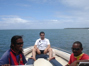On a speedboat in Mauritius