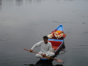 Early morning flower vendor on Dal Lake - Kashmir
